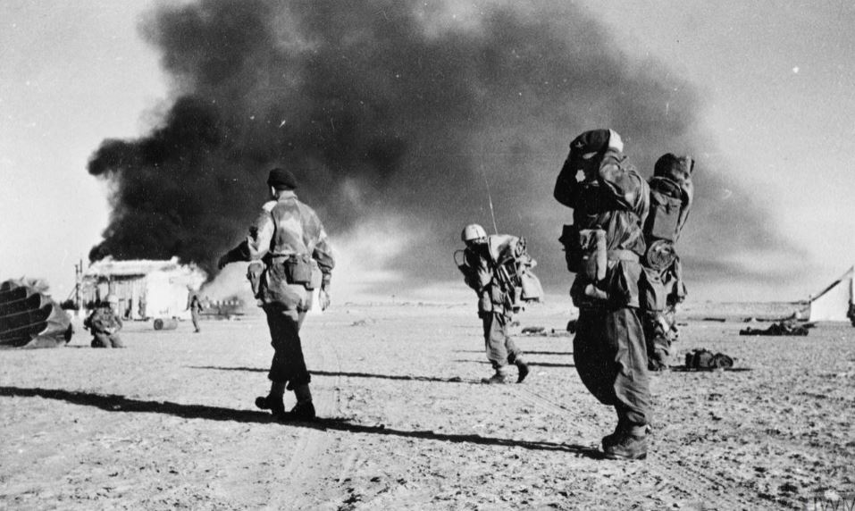 British troops of the 3rd Battalion, Parachute Regiment, after capturing El Gamil airfield in Egypt, 1956.