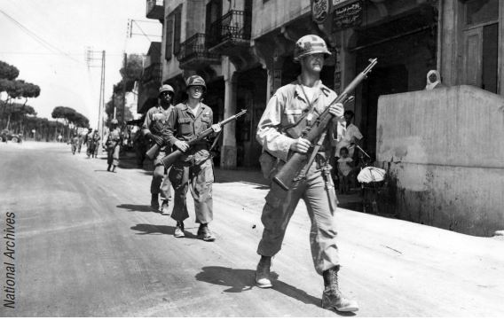 U.S. Army soldiers patrol a suburb of Beirut, Lebanon, in 1958.