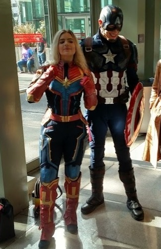 Captain Marvel and Captain America Cosplayers at ECCC 2019 (Unknown Cosplayers)