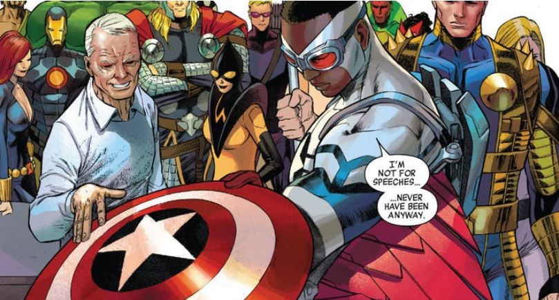 Old Man Steve Rogers Gives the Shield to Falcon in Captain America vol. 7, #25