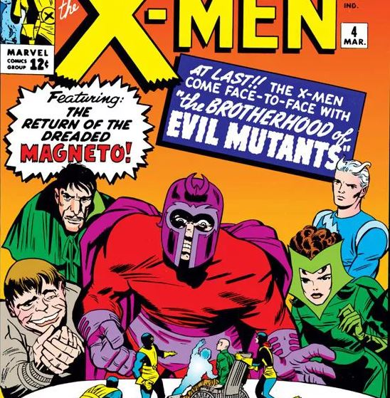 Scarlet Witch, Quicksilver, Mastermind, and the Brotherhood of Evil Mutants, from the cover of X-Men #4