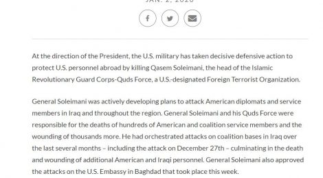 DoD Statement Iraq Jan, 2, 2020