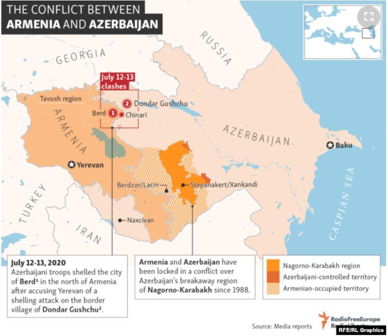 Map of Armenia-Azerbaijan Conflict